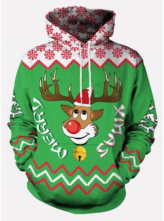 Unisex Baumwollmischungen Rentier Schreiben Weihnachts-Sweatshirt