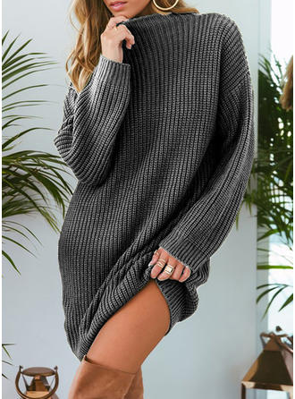 Solid Chunky knit Stand Collar Sweater Dress