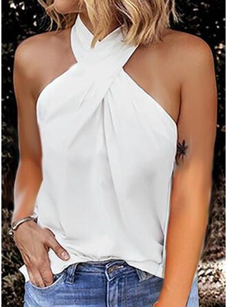 Sólido Gola Subida Sem Mangas Casual Camisetas regata