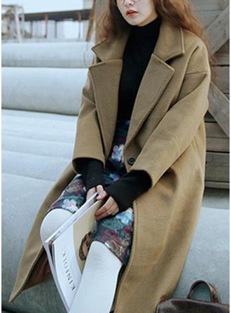 De laine Coton Manches longues Couleur unie Manteaux de Laine