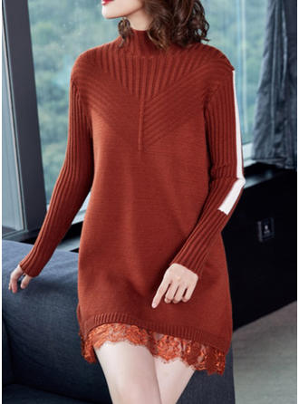 Polyester pied de col Couleur unie Robe Pull