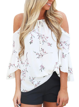Floral Cold Shoulder 3/4 Sleeves Casual Sexy Blouses