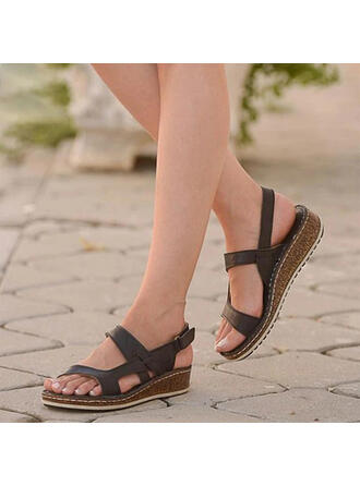 Women's PU Low Heel Sandals Peep Toe With Velcro shoes