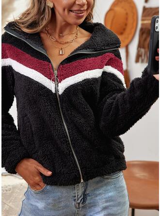 Manches Longues Imprimé Bloc de Couleur Vestes