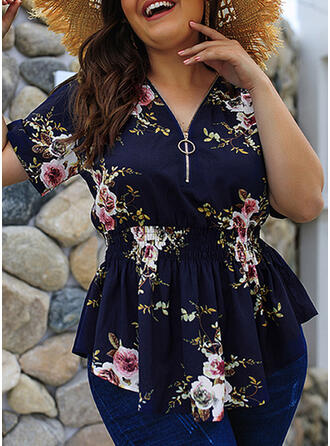 Print Floral V-Neck Short Sleeves Casual Plus Size Blouses