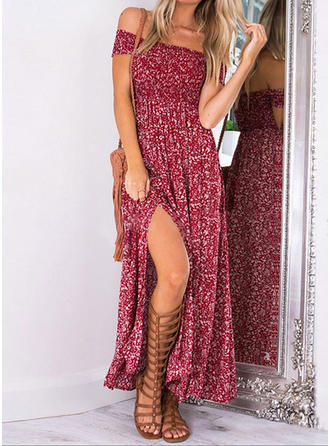 Print/Floral Cap Sleeve A-line Party/Boho/Vacation Maxi Dresses