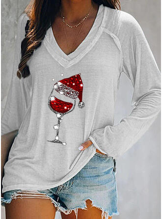 Print Sequins V-Neck Long Sleeves Casual Christmas T-shirts