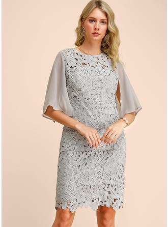 Lace/Solid 1/2 Sleeves/Split Sleeve Sheath Knee Length Party/Elegant Dresses