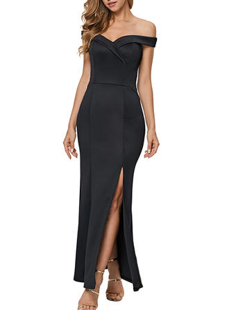 Solid Cap Sleeve Sheath Maxi Little Black/Party Dresses