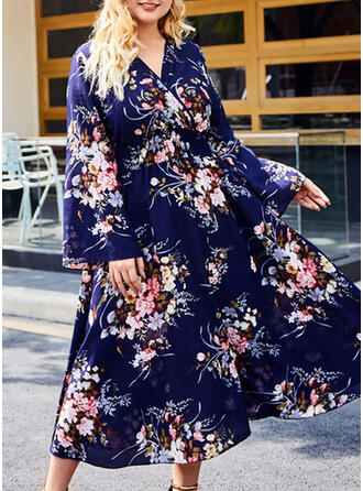 Print/Floral Long Sleeves A-line Casual/Vacation/Plus Size Midi Dresses