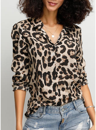 Animal Print Lapel 3/4 Sleeves Button Up Casual Shirt Blouses