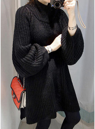 Polyester Stand Collar Plain Chunky knit Sweater Dress