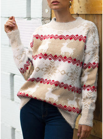 Print Chunky knit Round Neck Ugly Christmas Sweater