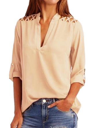 Plain V Neck Long Sleeves Casual Elegant Shirt Blouses