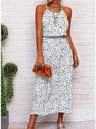 Print Sleeveless A-line Slip/Skater Casual/Vacation Midi Dresses