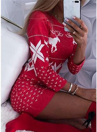 Animal Print Round Neck Long Christmas Sweater Dress
