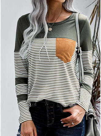 Color Block Striped Round Neck Long Sleeves Casual T-shirts