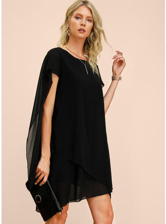 Solid Short Sleeves Shift Knee Length Little Black/Party/Elegant Dresses