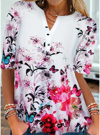 Bloemen Print Dier V-hals 1/2 Mouwen T-shirts