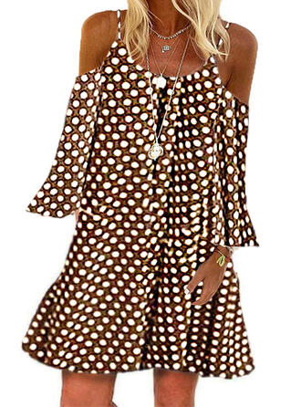 PolkaDot 3/4 Sleeves Shift Above Knee Casual Dresses