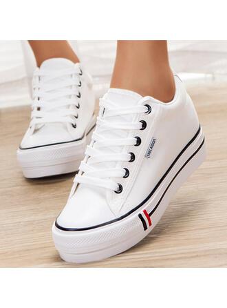 Femmes Toile Talon plat Chaussures plates Low Top bout rond Espadrille avec Dentelle Couleur unie chaussures