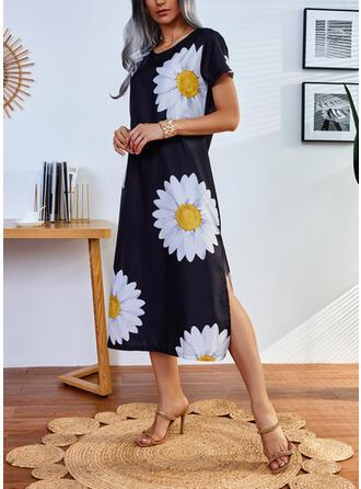 印刷/フローラル 半袖 シフトドレス カジュアル ミディ ドレス