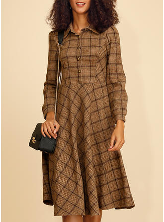 Plaid Long Sleeves A-line Knee Length Casual/Elegant Dresses