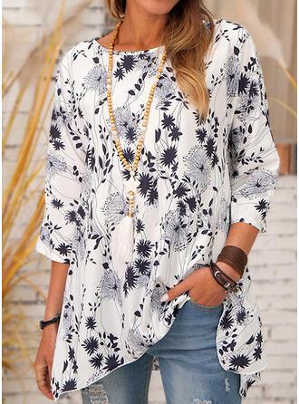 Druck Rundhalsausschnitt 3/4 Ärmel Lässige Kleidung Blusen