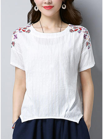 Cotton Linen Round Neck Embroidery Short Sleeves Casual Blouses