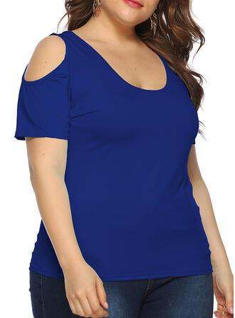 Solid Cold Shoulder Short Sleeves Casual Plus Size T-shirts