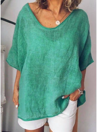 Solid Round Neck 1/2 Sleeves Casual Knit Blouses