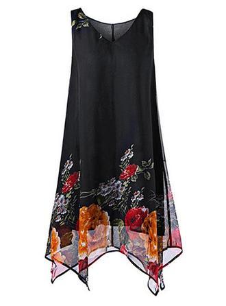 Print Floral V-neck Above Knee Shift Dress