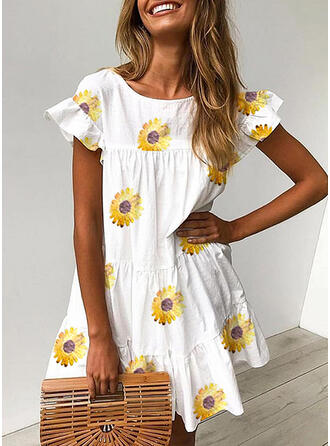 Print/Sunflower Print Short Sleeves Shift Above Knee Casual Dresses