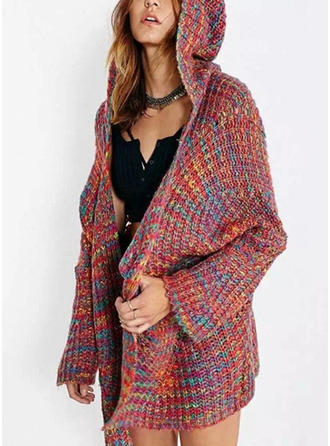 Cotton Blends Hooded Color Block Cardigan