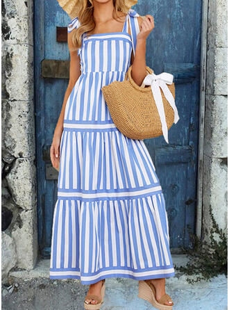 Striped Sleeveless A-line Casual/Vacation Maxi Dresses