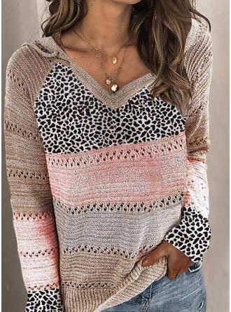 Bloque de Color Leopardo Capucha Casuales Suéteres