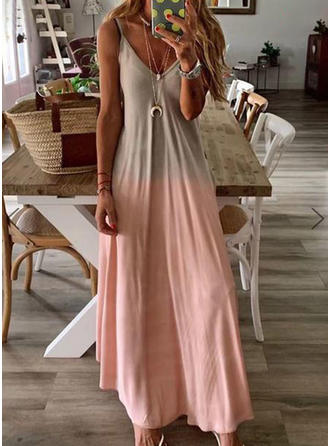 Color-block Sleeveless Shift Maxi Casual Dresses