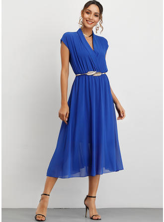 Solid Sleeveless A-line Midi Party/Elegant Dresses
