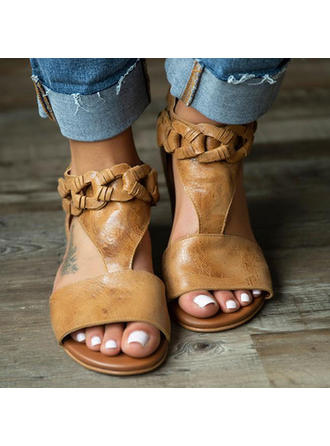 Vrouwen Kunstleer Flat Heel Sandalen Flats Peep Toe met Gesp schoenen