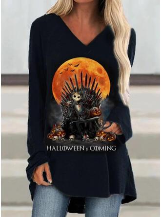 Print Halloween V-hals Lange ærmer Sweatshirts