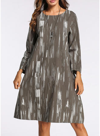Cotton/Linen With Print Knee Length Dress