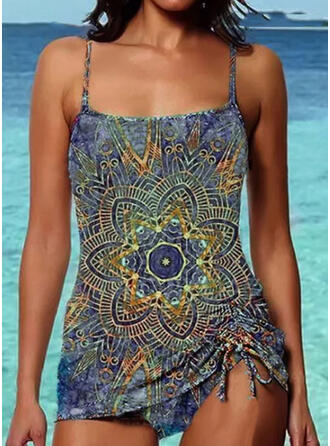 Floral Print Strap Vintage Plus Size Casual Tankinis Swimsuits