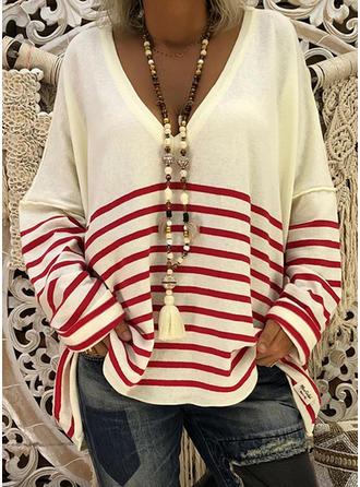Polyester V-neck Striped Pulls
