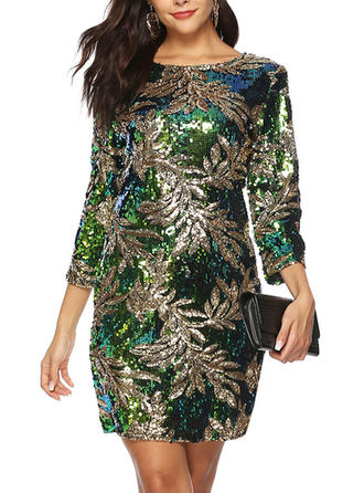 Sequins/Floral 3/4 Sleeves Sheath Above Knee Party Dresses
