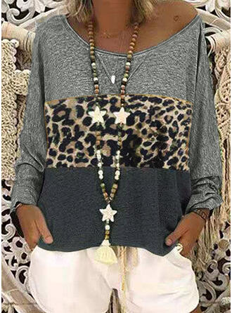 Animal Print One-Shoulder Long Sleeves Casual Blouses