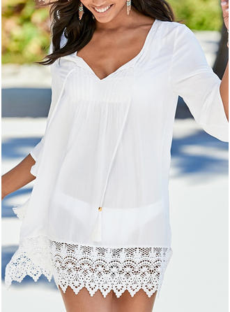 Solid Color Round Neck Sexy Elegant Cover-ups Swimsuits