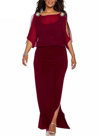 Solid 3/4 Sleeves Shift Party/Elegant Maxi Dresses