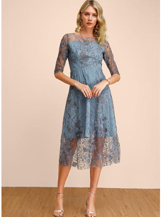 Embroidery/Solid 1/2 Sleeves A-line Midi Casual/Elegant Dresses