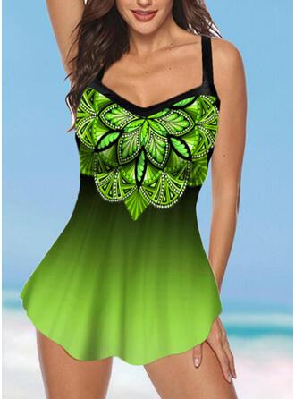 Floral Print Strap V-Neck Plus Size Boho Swimdresses Swimsuits