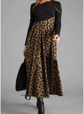 lampart Długie rękawy W kształcie litery A Łyżwiaż Casual Maxi Sukienki